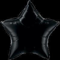 "20"" Custom Printed Onyx Black Star Foil Balloons"