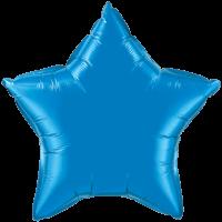 "20"" Custom Printed Sapphire Blue Star Foil Balloons"