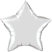 "20"" Custom Printed Silver Star Foil Balloons"