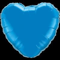 "18"" Custom Printed Sapphire Blue Heart Foil Balloons"