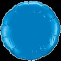 "18"" Custom Printed Sapphire Blue Round Foil Balloons"