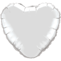 "18"" Custom Printed Silver Heart Foil Balloons"