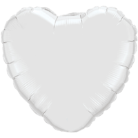 "18"" Custom Printed White Heart Foil Balloons"