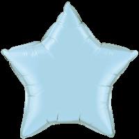 "20"" Custom Printed Pearl Light Blue Star Foil Balloons"