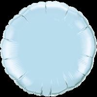 "18"" Custom Printed Pearl Light Blue Round Foil Balloons"
