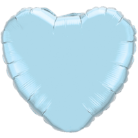 "18"" Custom Printed Pearl Light Blue Heart Foil Balloons"