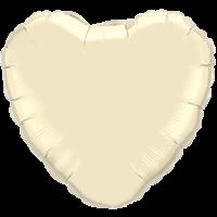 """18"""" Custom Printed Ivory Heart Foil Balloons"""