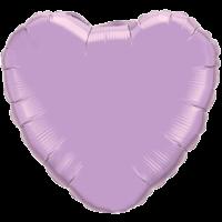 "18"" Custom Printed Pearl Lavender Heart Foil Balloons"