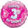 Happy 3rd Birthday Pink Holographic product link