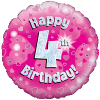 Happy 4th Birthday Pink Holographic product link