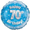 Happy 70th Birthday Blue Holographic product link