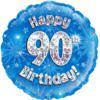 Happy 90th Birthday Blue Holographic product link