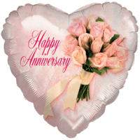 "18"" Happy Anniversary Bouquet Heart Balloon"