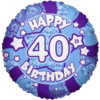 Blue Happy 40th Birthday Holographic product link