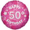 Pink Happy 50th Birthday Holographic product link
