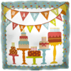 """18"""" Birthday Banner Cakes Foil Balloon product link"""