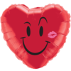 """18"""" Red Heart Smiley Balloon overview"""