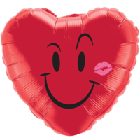 "18"" Red Heart Smiley Balloon"