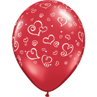 "11"" Red Swirl Hearts Latex Balloons x 50"