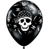 "11"" Black Pirate Skull & Cross Bones Latex x  product link"