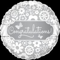 """18"""" Elegant Silver Congratulations Balloon"""