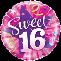 "18"" Pink Shiny Sweet 16th Balloon"