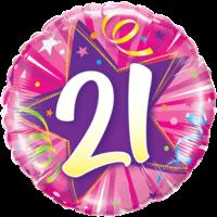"""18"""" Star & Swirls 21st Ballloon"""