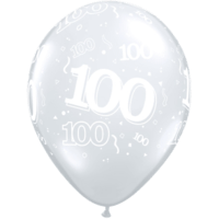 "11"" 100th Diamond Clear Latex x 25"