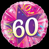 "18"" Pink Star 60th Balloon"