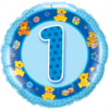 "18"" Blue 1st Birthday Balloon overview"