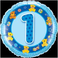"""18"""" Blue 1st Birthday Balloon"""