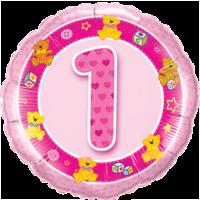 """18"""" Pink 1st Birthday Balloon"""