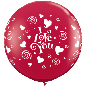 3FT Red I Love You Swirling Hearts Latex x 2 Product Display