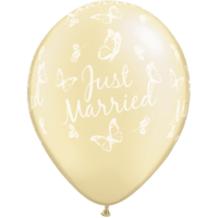 "11"" Pearl Ivory Just Married x 25"
