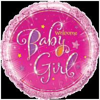 "18"" Baby Girl Holographic Stars Balloon"