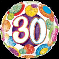 "18"" 30th Big Colourful Dots Balloon"