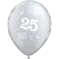 "11"" 25th Silver Latex x 25"