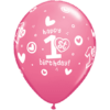 "11"" Happy 1st Birthday Girl Rose Latex x 25 product link"