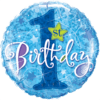 """18"""" Sparkly Blue 1st Bday Balloon overview"""