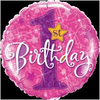 "18"" Pink 1st Bday Balloon"
