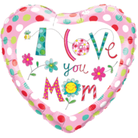 """18"""" Love you Mom Floral Balloon"""