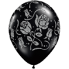 "11"" Onyx Black Glitter Roses Latex Balloons x product link"