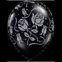 "11"" Black Glitter Rose x 25"