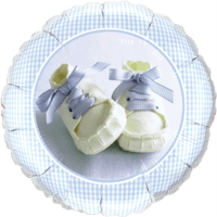"""18"""" Blue Baby Shoes Balloon"""