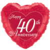 "18"" Red 40th Anniversary Heart Balloon overview"