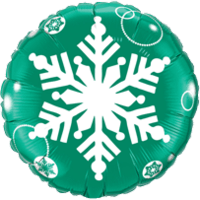 "18"" Green White Snowflake Balloon"