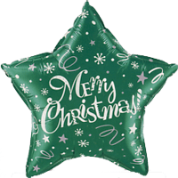 "18"" Merry Christmas Green Star Balloom"