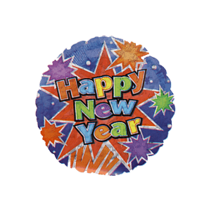 Bright Happy New Year Balloon in a Box