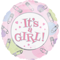It's A Girl Pins and Things Balloon in a Box