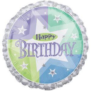Prismatic Birthday Shimmer  Balloon in a Box